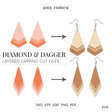 Load image into Gallery viewer, Diamond & Dagger Stacked Earrings SVG Cut File for Cricut & Silhouette