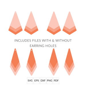 Diamond & Dagger Stacked Earrings SVG Cut File for Cricut & Silhouette