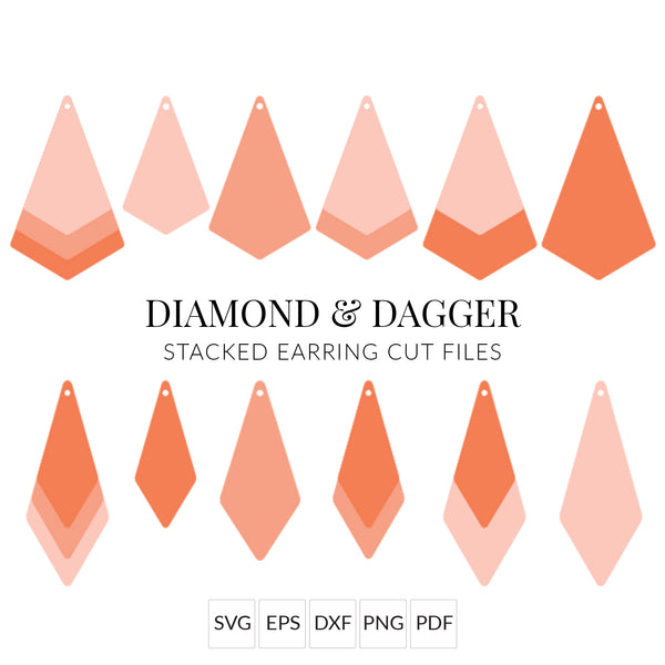 Diamond & Dagger Faux Leather Earrings SVG Cut File for Cricut & Silhouette