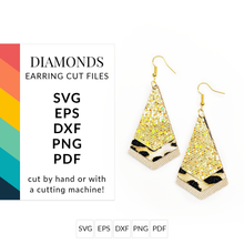 Load image into Gallery viewer, Diamond & Dagger Faux Leather Earrings SVG Cut File for Cricut & Silhouette
