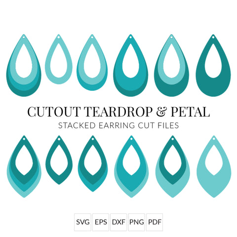 Cutout Teardrop & Petal Stacked Earrings SVG Cut File for Cricut & Silhouette