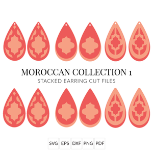 Moroccan Collection 1 Stacked Earrings SVG Cut File for Cricut & Silhouette