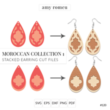 Load image into Gallery viewer, Moroccan Collection 1 Stacked Earrings SVG Cut File for Cricut & Silhouette