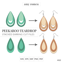 Load image into Gallery viewer, Peekaboo Teardrop Stacked Earrings SVG Cut File for Cricut & Silhouette