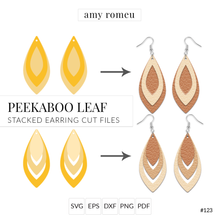Load image into Gallery viewer, Peekaboo Leaf Stacked Earrings SVG Cut Files for Cricut & Silhouette