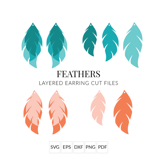 DIY Feather Earrings SVG Cut File Earring Template for Cricut & Silhouette