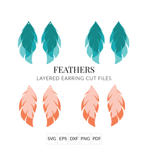 Feathers Leather Earring SVG Cut File for Cricut & Silhouette