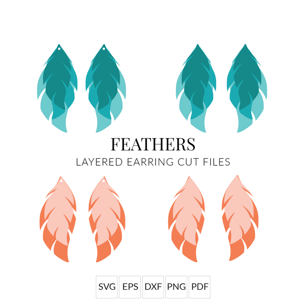Feathers Leather Earrings SVG Cut File for Cricut & Silhouette