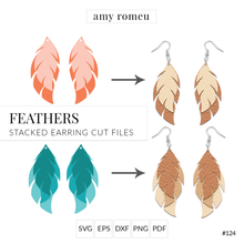 Load image into Gallery viewer, Feathers Stacked Earrings SVG Cut File for Cricut & Silhouette