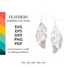 Load image into Gallery viewer, Feathers Leather Earrings SVG Cut File for Cricut & Silhouette
