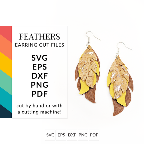 Feathers Faux Leather Earrings SVG Cut Files for Cricut & Silhouette
