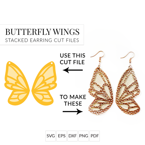 Butterfly Wing Set of 2 Stacked Earrings SVG Cut File for Cricut & Silhouette