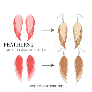 Feathers 2 Long Feathers Leather Earring Template SVG Cut File for Cricut & Silhouette
