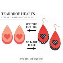 Load image into Gallery viewer, Teardrop Heart Set of 2 Stacked Earrings SVG Cut File for Cricut & Silhouette