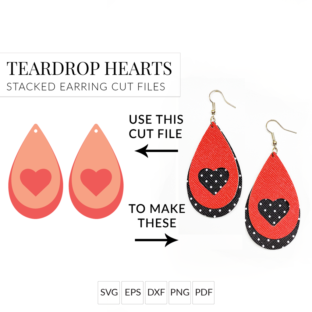 teardrop heart stacked earring cut files for cricut silhouette amy romeu
