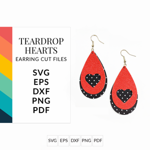 Teardrop Heart Set of 2 Stacked Earrings SVG Cut File for Cricut & Silhouette