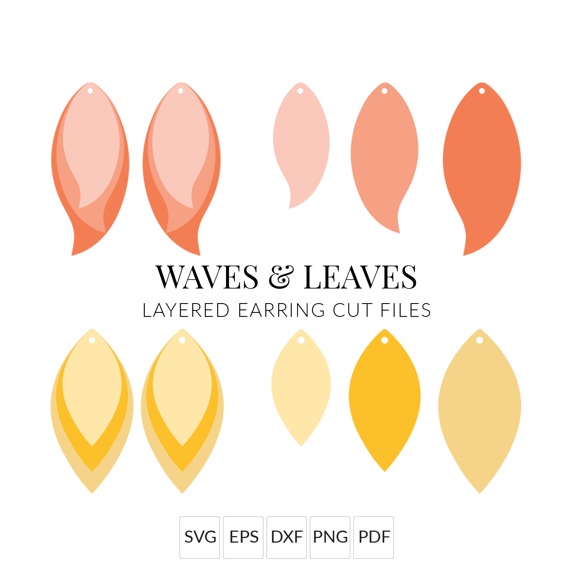 Waves & Leaves Stacked Earrings SVG Cut File for Cricut & Silhouette