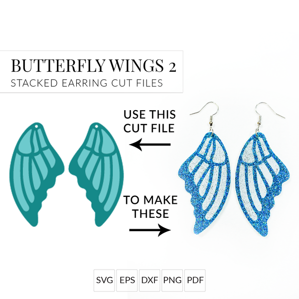 Butterfly Wings 2 Set of 2 Earring SVG Cut Files Earring Templates for Cricut & Silhouette