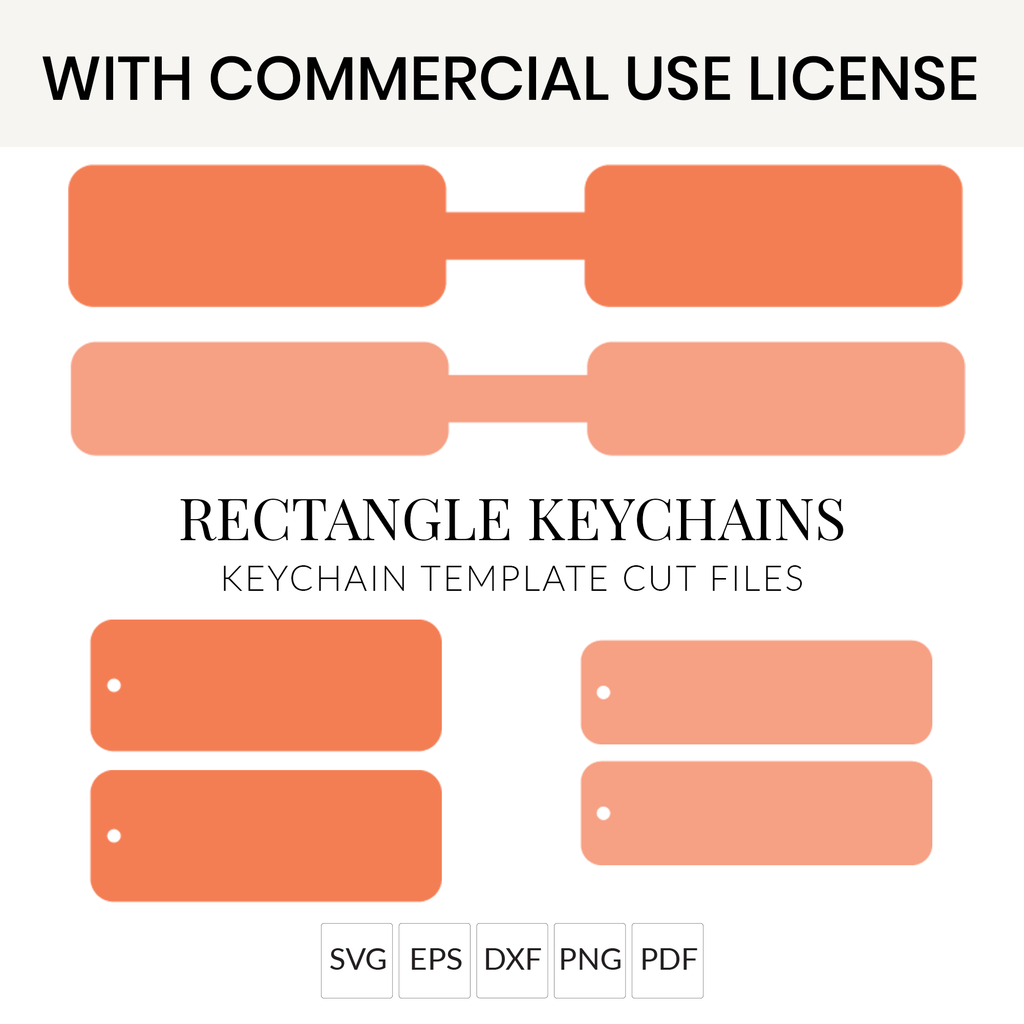 Rectangle Keychain SVG Files with Commercial Use License