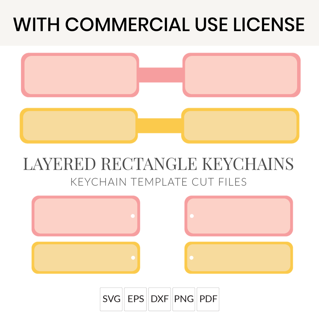Layered Rectangle Keychain SVG Files with Commercial Use License