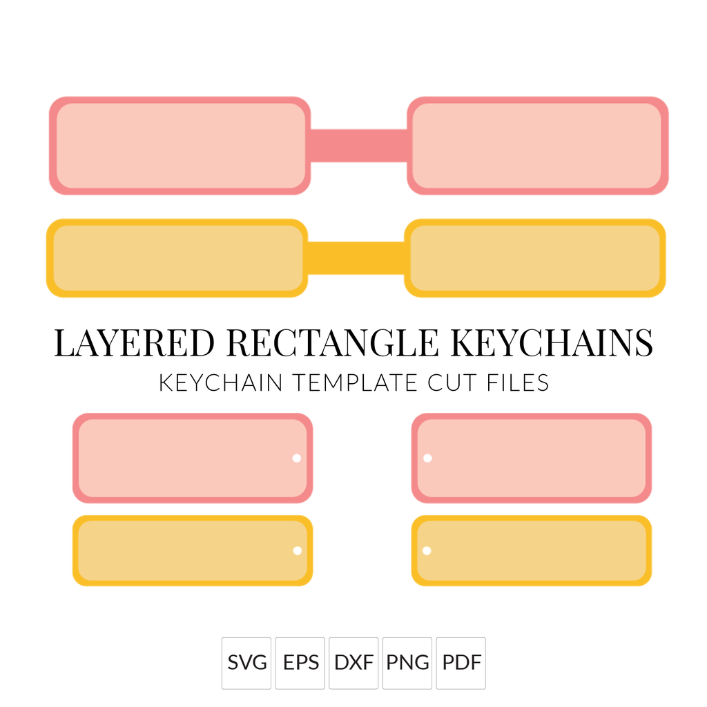 Layered Rectangle Keychain SVG Files