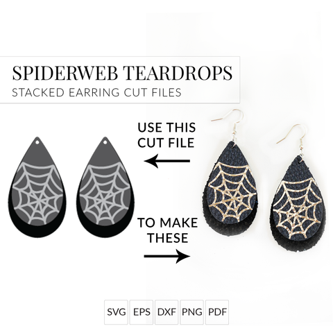 Spiderweb Teardrops Set of 2 Stacked Earrings SVG Cut File for Halloween Earrings
