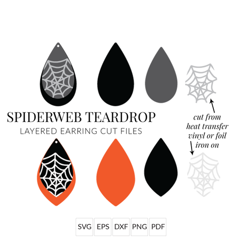 Spiderweb Teardrop Halloween Earrings SVG Set of 2 Stacked Earring Cut File for Cricut & Silhouette