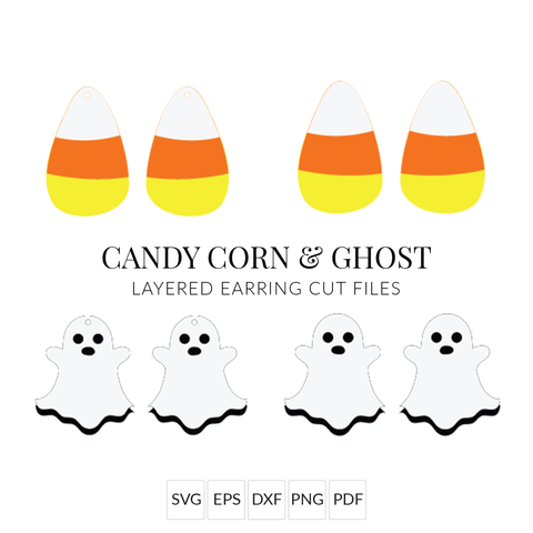 Candy Corn & Ghost Halloween Earrings SVG Set of 2 Stacked Earring Cut File for Cricut & Silhouette