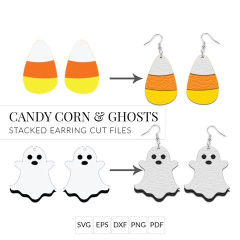 Halloween Earring SVGs - Candy Corn & Ghost - Set of 2 Stacked Earring SVG Cut Files for Cricut & Silhouette