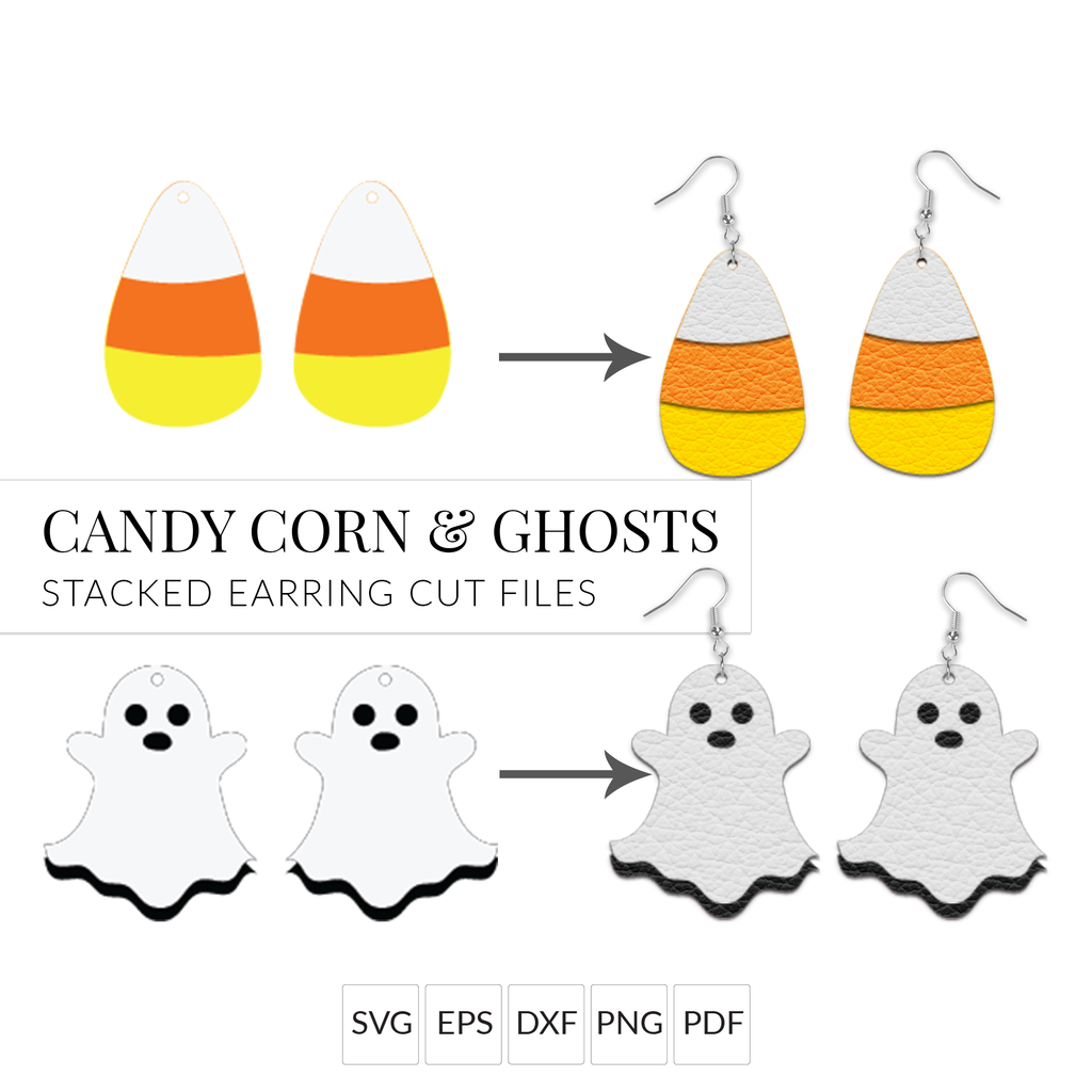 Candy Corn & Ghost Halloween Earrings SVG File