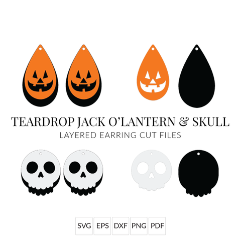 Halloween Earring SVGs - Teardrop Jack O'Lantern & Skull - Set of 2 Stacked Earring SVG Cut Files for Cricut & Silhouette