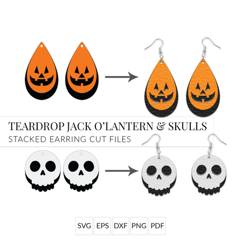 Jack O'Lantern Teardrop Pumpkin & Skull Halloween Earring SVGs - Set of 2 Stacked Earring SVG Cut Files for Cricut & Silhouette