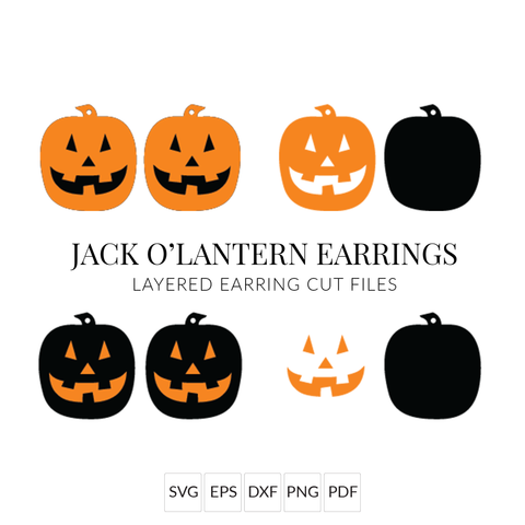 Jack O'Lantern Halloween Earrings SVG Set of 2 Stacked Earring Cut File for Cricut & Silhouette