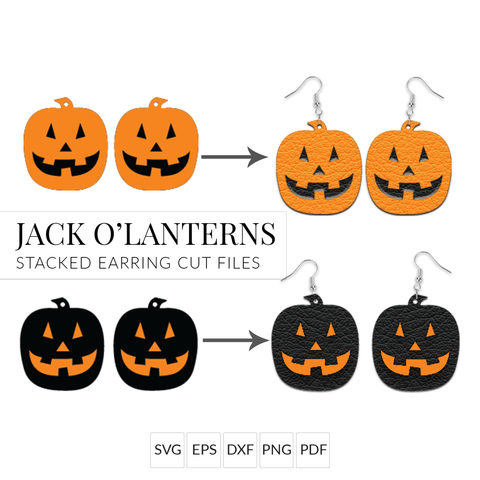 Halloween Earrings SVG - Jack O'Lantern Pumpkins - Set of 2 Stacked Earring Cut File for Cricut & Silhouette