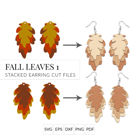 Autumn Leaf Earrings SVG Set of 2 Layered Fall Leaf Earring Cut Files for Cricut & Silhouette