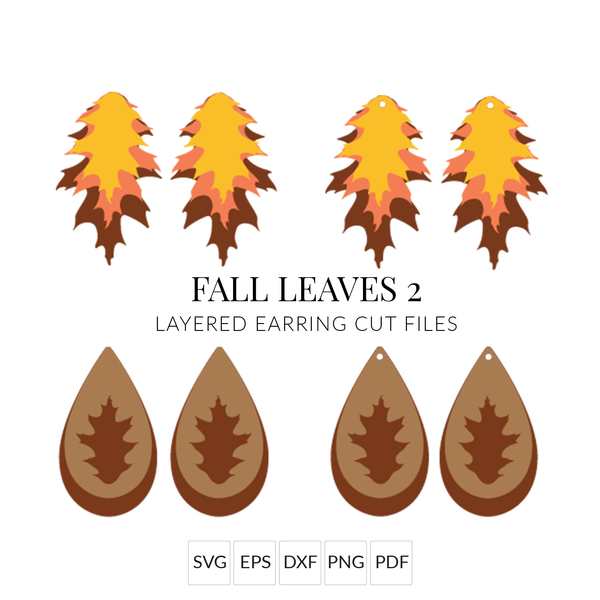 Fall Leaves 2 SVG Set of 2 Layered Fall Leaf Earring Cut Files for Cricut & Silhouette