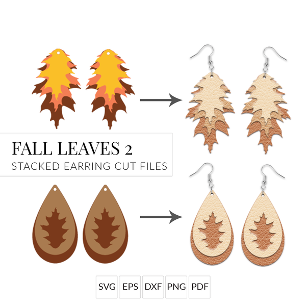 Fall Leaf Stacked Earring SVG Set of 2 Layered Fall Leaf Earring Cut Files for Cricut & Silhouette