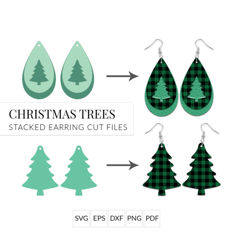 Christmas Tree Earrings SVG Bundle - Set of 2 Stacked Earring Cut Files for Cricut & Silhouette