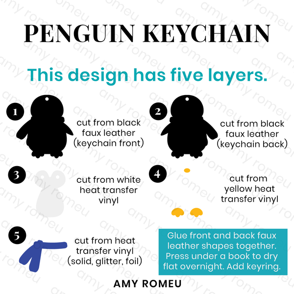 Penguin Keychain Template SVG Cut File for Cricut & Silhouette