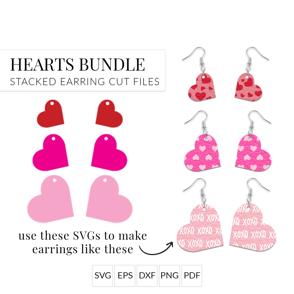 Valentine's Day Small Heart Earrings SVG Cut File for Cricut & Silhouette