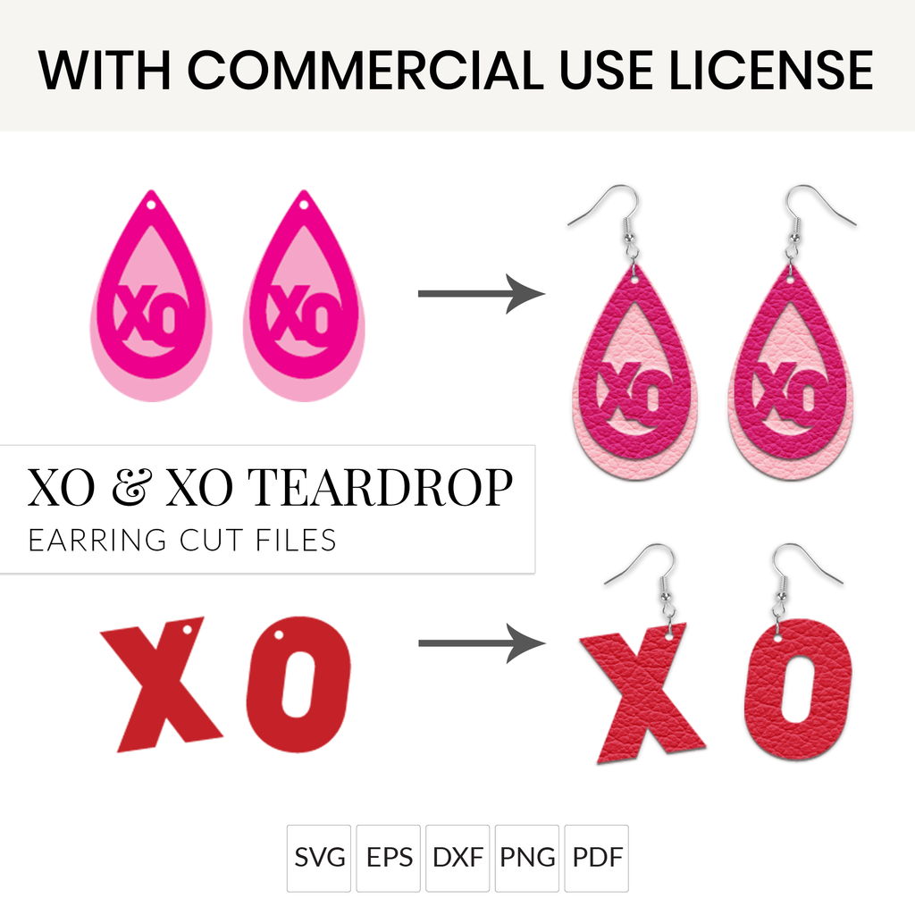 Valentine's Day XO & XO Teardrop Earrings SVG with Commercial Use License