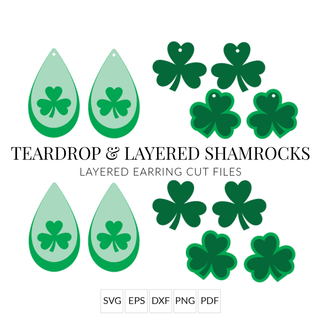 St. Patrick's Day Shamrock Earrings SVG with Commercial Use License
