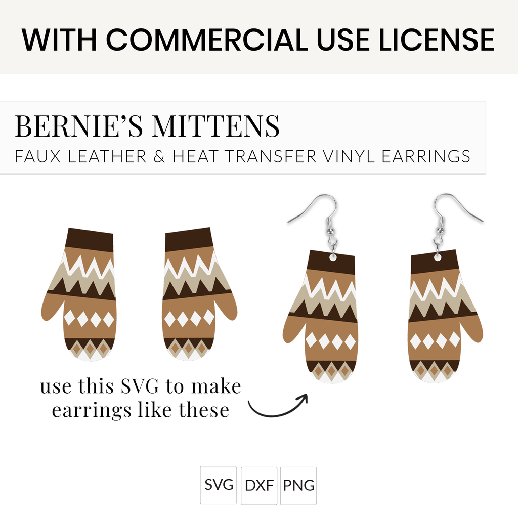 Bernie Mittens Earrings SVG with Commercial Use License