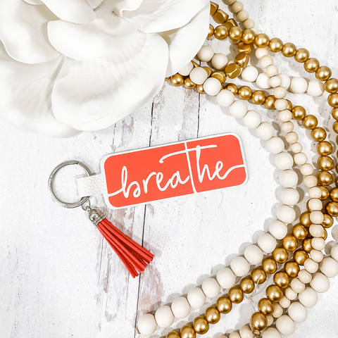 Word of the Year Keychain - BREATHE - Single Word SVG Template with Commercial License