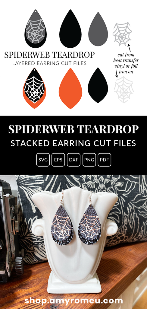 Spiderweb Teardrop Earrings SVG File