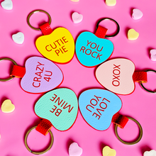 Load image into Gallery viewer, 25 Candy Heart Keychain Sayings Mega SVG File Bundle