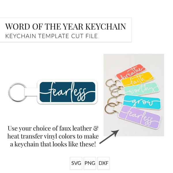 Word of the Year Keychain - FEARLESS - Single Word SVG Template