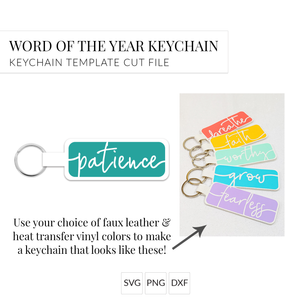 Word of the Year Keychain - PATIENCE - Single Word SVG Template