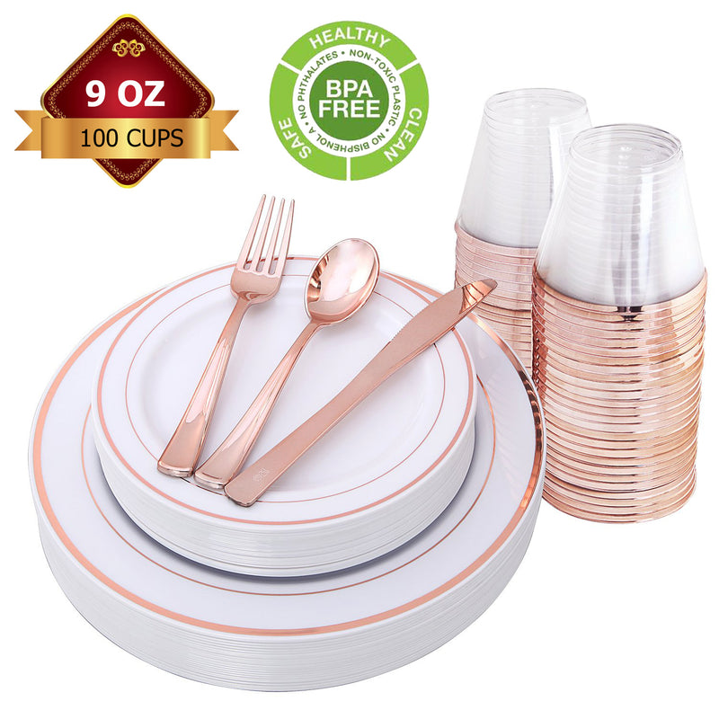 BPA free rose gold - silver or gold dinner set for 25 ppl 150