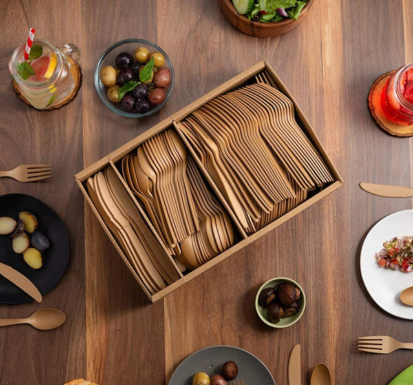PLANT BASED DISPOSABLE CUTLERY SET [360 PACK]